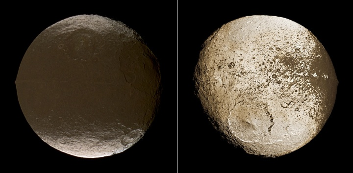 {4} Cassini mostra as duas faces da incomum lua Japeto (Iapetus). Crédito: NASA/JPL/missão Cassini