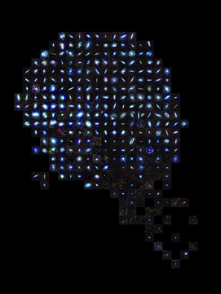 Galáxias incluidas no estudo do Herschel, o maior censo de poeira cósmica no Universo local. Crédito: ESA/Herschel/HRS-SAG2 e HeVICS Key Programmes/L. Cortese (Universidade Swinburne)