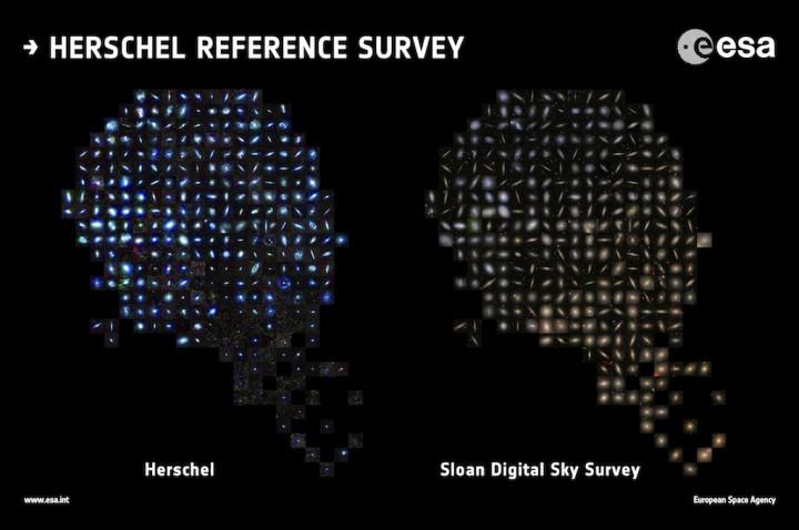 Imagens de galáxias observadas no infravermelho (à esquerda) e no visível (à direita), fornecedidas, respectivamente pelo Herchel e SDSS. Crédito: ESA/Herschel/HRS-SAG2 and HeViCS Key Programmes/Sloan Digital Sky Survey/ L. Cortese (Swinburne University)