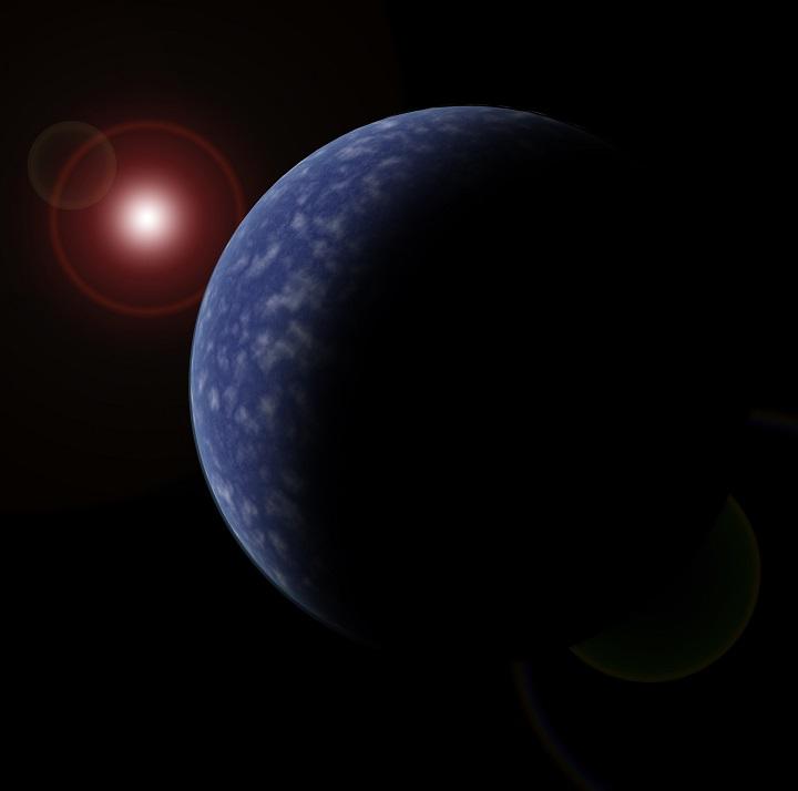 Concepção artística de um dos exoplanetas recém-descobertos, em órbita em torno da estrela anã vermelha que se vê no canto superior esquerdo. Crédito: Neil Cook, Universidade de Hertfordshire