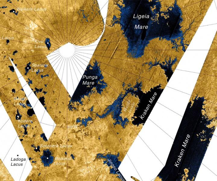 Mapa dos lagos situados ao norte de Titã, produzido por imagens de radar em alta-resolução da Cassini. Crédito: NASA/JPL/USGS