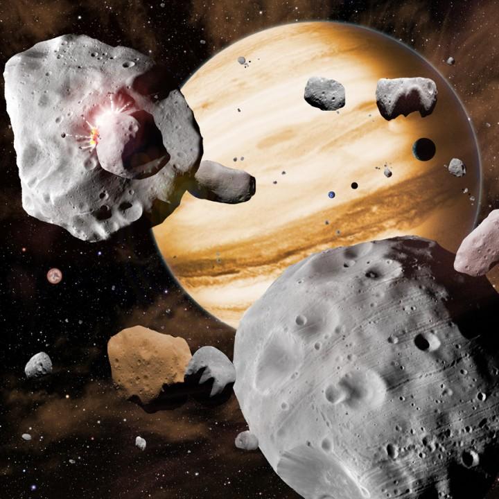 A migração de Júpiter pelo Sistema Solar arrastou asteróides para fora de órbitas estáveis, empurrando uns contra os outros. À medida que os planetas gigantes gasosos migravam, agitavam o conteúdo do Sistema Solar. Objetos desde a distância de Mercúrio até à distância de Netuno, agruparam-se no cinturão principal de asteroides, levando à composição diversificada que vemos hoje. Crédito: Centro Harvard-Smithsonian para Astrofísica, David A. Aguilar