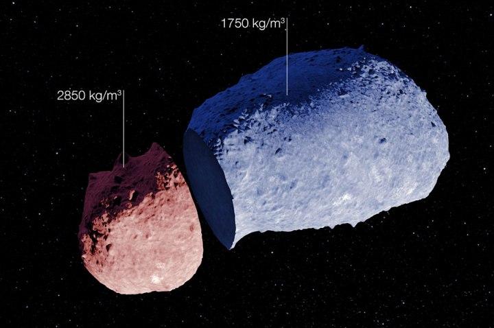 Visão esquemática do astetoide (25143) Itokawa. Crédito: ESO/JAXA