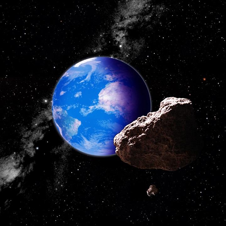 Os asteróides que cruzam a órbita da Terra, como este mostrado na concepção artística, ameaçam impactar nosso planeta. Agora, o observatório Pan-STARRS vem fortalecer nossa primeira linha de defesa planetária, levantando imensas áreas do céu noturnamente à procura de objetos em movimento. Crédito: David A. Aguilar/CfA