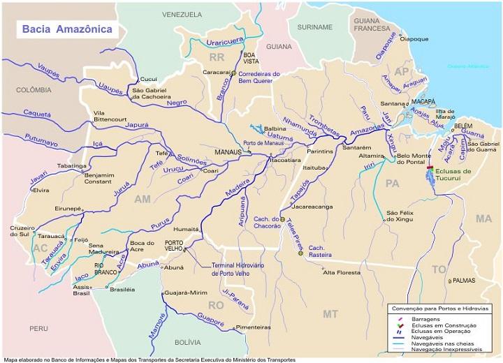 Bacia Amazônica: o rio Solimões-Amazonas e os principais afluentes