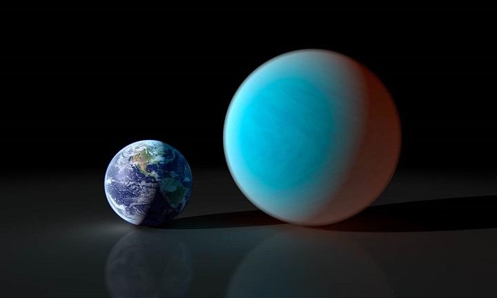 Comparação dos tamanhos entre a Terra e 55 Cancri e que tem o dobro do diâmetro e 8 vezes a massa do nosso planeta.