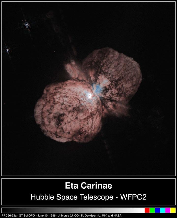Eta Carinae e sua nebulosa. Crédito: Hubble Space Telescope