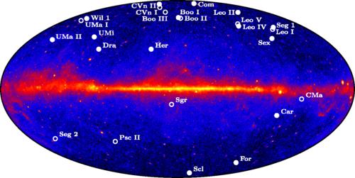 Aqui vemos as diversas galáxias satélites anãs esferoidais conhecidas da Via Láctea sobrepostas em uma projeção Hammer-Aitoff de 4 anos de observações do LAT (Energia > 1 GeV). As 15 galáxias anãs incluídas na análise combinada do LAT estão destacadas com círculos brancos cheios, enquanto que as demais galáxias anãs adicionais são mostradas com círculos em branco.