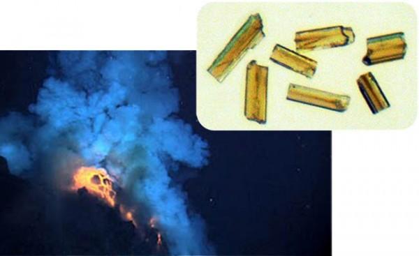 Cristais de Zircônio datados de 55 milhões de anos atrás sugerem que massivas erupções vucânicas aqueceram a Terra. Créditos: Vulcão (NOAA) / Zircônio (Svensen et al.)
