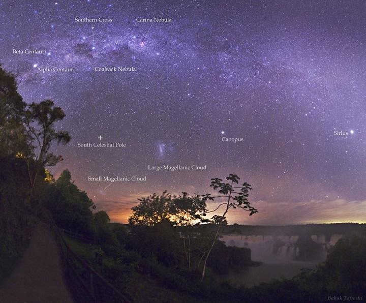 Noite na Foz do Iguaçú capturada por Babak Tafreshi (TWAN), com rótulos dos objetos mais interessantes. Clique na imagem para ver em alta resolução. Crédito: Crédito©: Babak Tafreshi (TWAN)