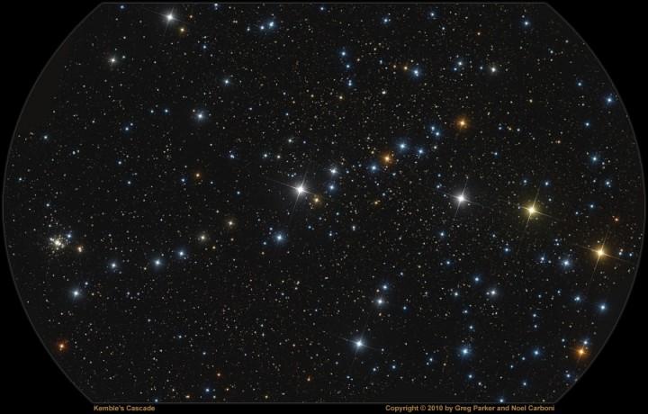 A Cascata de Kemble e o aglomerado estelar aberto NGC 1502. Créditos©: Noel Carboni pelo processamento / Greg Parker, New Forest Observatory pela imagem