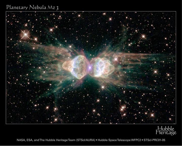 Mz3 - a Nebulosa da Formiga. Créditos©: R. Sahai (JPL) et al., Hubble Heritage Team, ESA, NASA