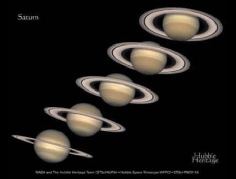 Aspecto dos anéis de Saturno ao longo dos anos. Entre 10 de Agosto a 4 de Setembro de 2009 teremos Saturno 'sem' seus anéis. Contrastando com o que foi observado em 2003, quando o sistema de anéis de Saturno apresentou-se em seu máximo visual (27º de inclinação), os anéis se apresentarão no seu mínimo visual a partir de 10 de agosto. Tal fenômeno é causado pelas posições relativas entre Saturno, a Terra e o Sol. O rápido movimento da Terra na sua órbita muda o ângulo de visão alternando a face Sul com a face Norte dos anéis. Durante 3 semanas os famosos anéis ficaram praticamente impossíveis de serem observados.