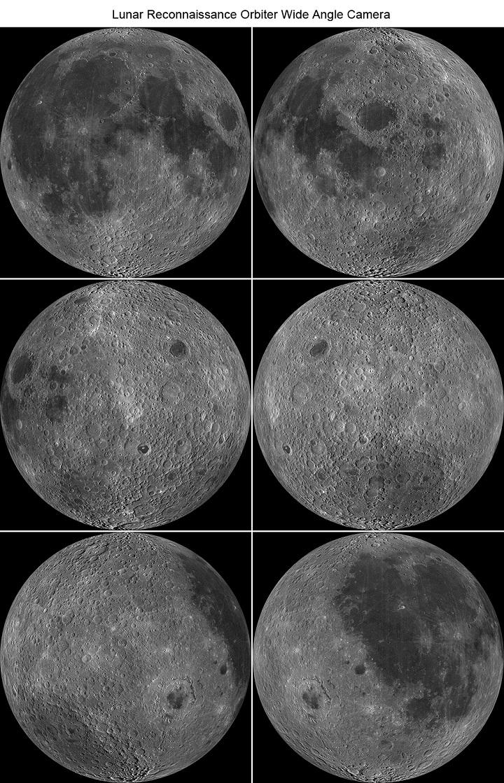 Bilhões de anos de erosão e movimentos tectônicos eliminaram as grandes crateras antigas... Na Lua, em contrapartida, podemos ver as marcas os bombardeamentos, nestas imagens de vários ângulos capturadas pela sonda robótica LROC. Crédito: NASA