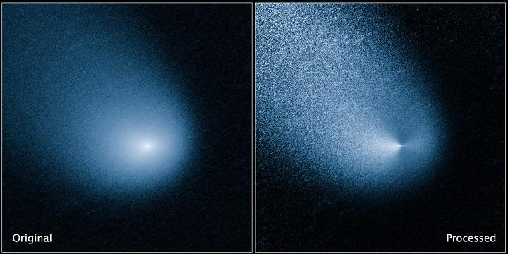 As imagens mostram, antes e depois de processamento, o cometa C/2013 A1 (Siding Spring), capturadas pelo dispositivo WFC3 (Wide Field Camera 3) do Observatório Espacial Hubble. Créditos: NASA, ESA e J.-Y. Li (Instituto de Ciência Planetária)