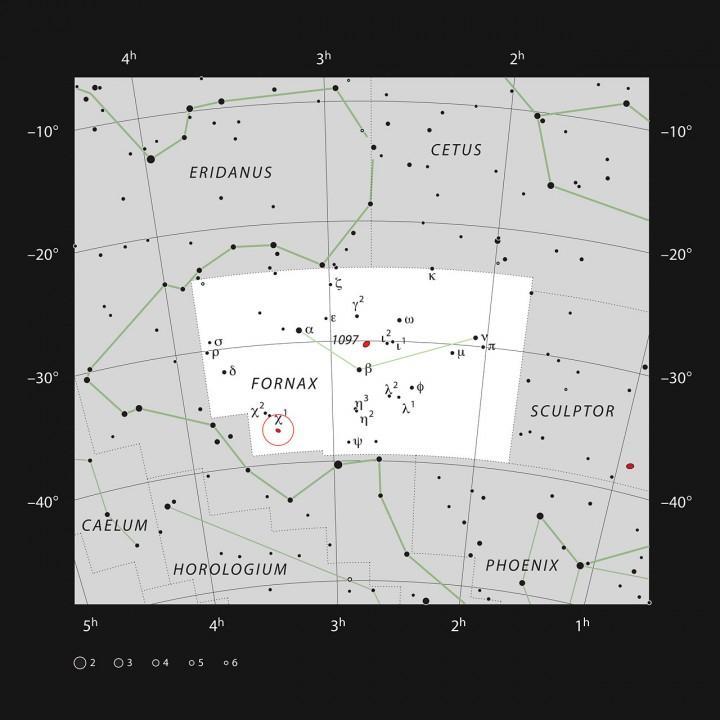 Localização das galáxias NGC 1316 e 1317 na constelação da Fornalha (Fornax). Crédito: ESO