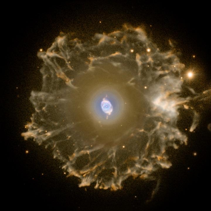 NGC 6543: a Nebulosa Olho e Gato e sua estrutura filamentosa. Clique na imagem para a sua versão em alta-resolução. Crédito©: R. Corradi (Isaac Newton Group), Nordic Optical Telescope