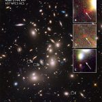Hubble descobre uma galáxia muito distante com ajuda de lente gravitacional gerada peloaglomeradoAbell 2744