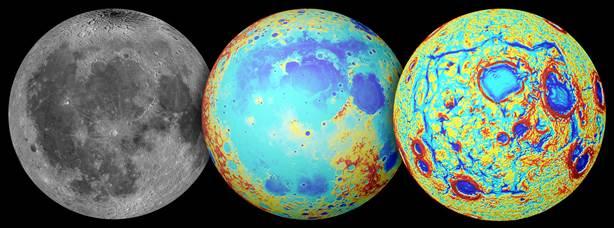 A Lua observada por telescópios óticos (esquerda), mapa topográfico (centro, onde o vermelho é alto relevo e o azul é baixo) e os gradientes de gravidade da missão GRAIL (À direita). O Oceanum Procellarum é uma região grande de baixa topografia coberta por 'mares' basálticos escuros. Os gradientes de gravidade revelam um padrão rectangular gigante de estruturas que rodeiam a região. Créditos: NASA/GSFC/JPL/Escola de Minas do Colorado/MIT