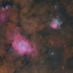 Christian vd Berge mostra o trio de Sagitário: M8, M20 e NGC 6559