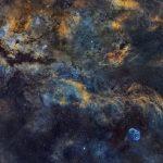 Paul C. Swift captura panorama cósmico na constelação de Cygnus e mostra a supergigante Sadr, a Nebulosa da Borboleta e a Nebulosa Crescente