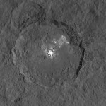 A cratera Occator e as manchas brilhantes de Ceres em novas imagens pela sonda DAWN