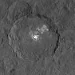 A cratera Occator e as manchas brilhantes de Ceres em novas imagens pela sonda DAWN
