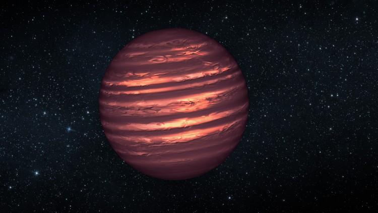 Ilustração de uma anã marrom (anã castanha). Esses objetos sub-estelares são mais quentes e massivos que os exoplanetas gigantes gasosos, mas não têm massa suficiente para se tornarem estrelas. As suas atmosferas podem ser semelhantes às dos exoplanetas gigantes gasosos. Créditos: NASA/JPL-Caltech