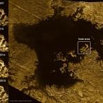 Missão Cassini revela sobre a característica que apareceu, mudou e desapareu no lago gelado Ligeia Mare em Titã