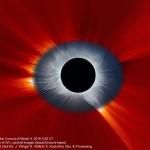A Corona Solar e um Eclipse Total combinados vistos da Terra e do observatório espacial SOHO