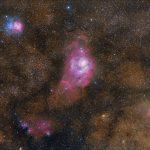 A Nebulosa Trífida, a Nebulosa da Lagoa e Marte por Mohammad Nouroozi