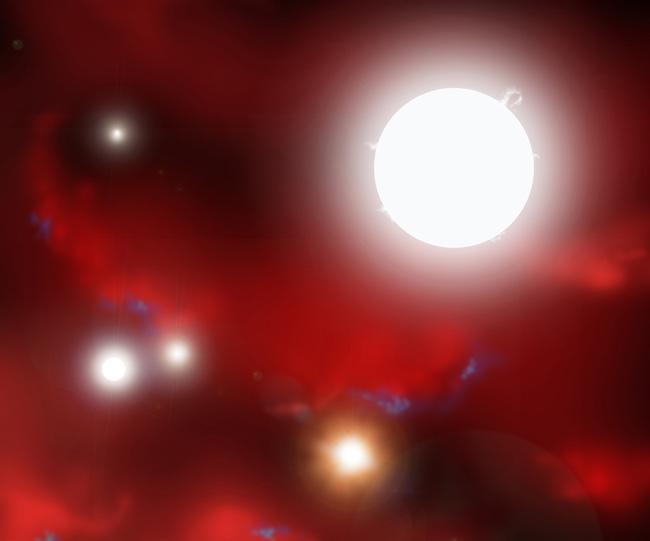 As primeiras estrelas começaram como pequenas sementes que rapidamente cresceram em estrelas com cem vezes a massa do nosso Sol. Na ilustração, rodopiantes nuvens de hidrogênio e hélio são iluminadas pelas primeiras luzes estelares a brilhar no Universo. Crédito: David A. Aguilar (CfA)