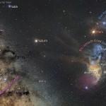 Saturno e Marte visitam as nuvens coloridas de Rho Ophiuchus capturados pelo brasileiro Carlos Eduardo Fairbairn